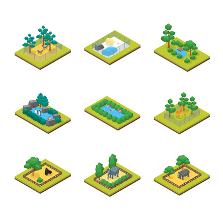 Zoo Concept 3d Isometric View Animal Wildlife Nature Park on a White Background. Vector illustration of Zoological Garden Ilustração