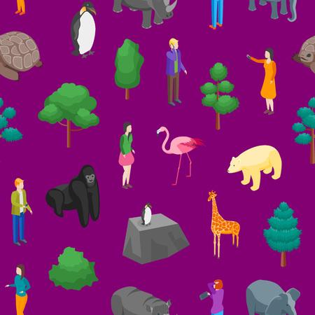 ZooSeamless Pattern Background 3d Isometric View Animal Wildlife Nature Park. Vector illustration of Zoological Garden Ilustração