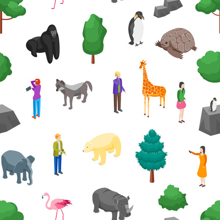 ZooSeamless Pattern Background on a White 3d Isometric View Animal Wildlife Nature Park. Vector illustration of Zoological Garden