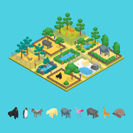 Zoo Concept and Elements 3d Isometric View Animal Wildlife Nature Park on a Blue Background. Vector illustration of Zoological Garden Ilustração