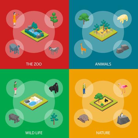 Zoo Concept Banner Set 3d Isometric View Animal Wildlife Nature Park. Vector illustration of Zoological Garden Ilustração