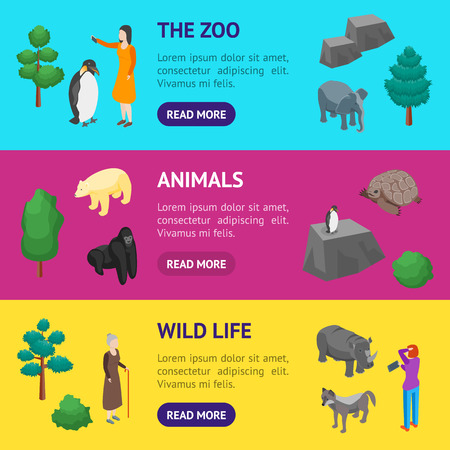 Zoo Concept 3d Banner Horizontal Set Isometric View Animal Wildlife Nature . Vector illustration of Zoological Garden Ilustração
