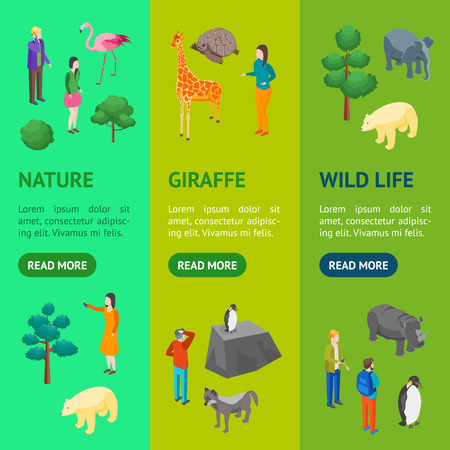 Zoo Concept Banner Vecrtical Set 3d Isometric View Animal Wildlife Nature Park . Vector illustration of Zoological Garden Ilustração