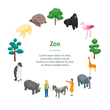 Zoo Concept Banner Card Circle 3d Isometric View.