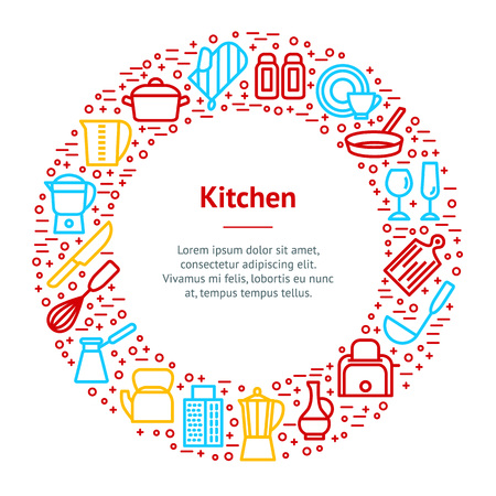 Kitchen Tools Concept Banner Card Circle Include of Knife and Pan. Vector illustration of Utensil for Cooking Icons