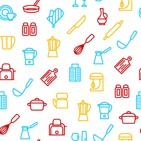Kitchen Tools Thin Line Seamless Pattern Background on a White Include of Knife and Pan. Vector illustration of Utensil for Cooking Illustration