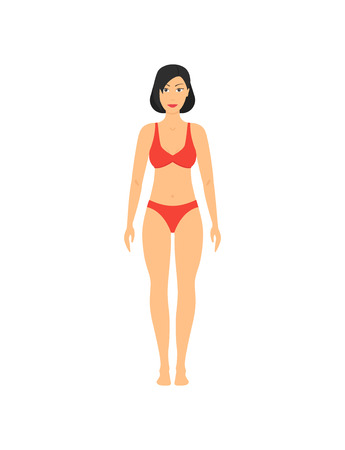 Cartoon Obesity Weight Loss Girl for Fitness, Health and Diet Concept Flat Design Style . Vector illustration