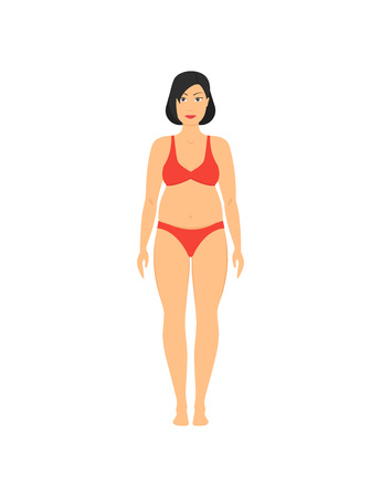 Cartoon Obesity Weight Loss Woman Fitness, Health and Diet Concept Flat Design Style . Vector illustration of Overweight Body Ilustração