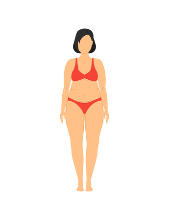 Cartoon Obesity Weight Loss Model Plus Fitness, Health and Diet Concept Flat Design Style . Vector illustration