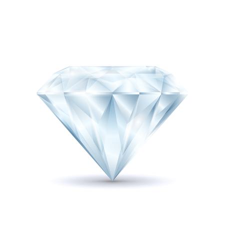 Realistic Detailed 3d Shiny Bright Diamond Symbol of Luxury and Treasure Precious Crystal. Vector illustration of Brilliant