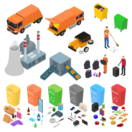 Garbage Recycling Signs 3d Icons Set Isometric View Include of Bin, Trash, Truck and Factory. Vector illustration of Icon