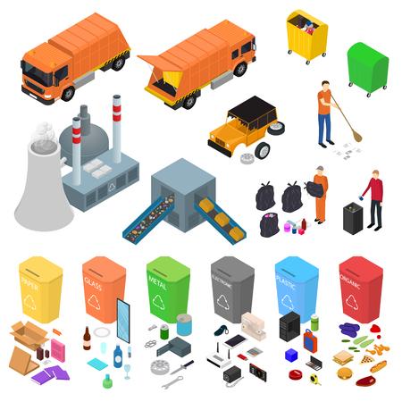 Müll-Recycling-Schilder 3D-Icons Set isometrische Ansicht enthalten von Bin, Trash, Truck und Factory. Vektor-Illustration von Icon