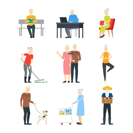 Cartoon Characters Modern Aged People Set Concept Element Flat Design Style. Vector illustration of Man and Woman