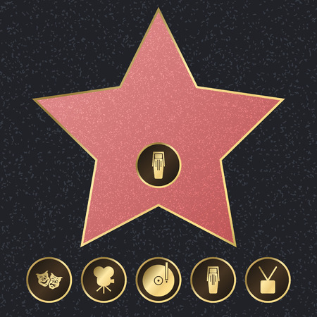 Walk of Fame Background Card Star Symbol of Achievement, Talent and Honor. Vector illustration of Famous Sidewalk