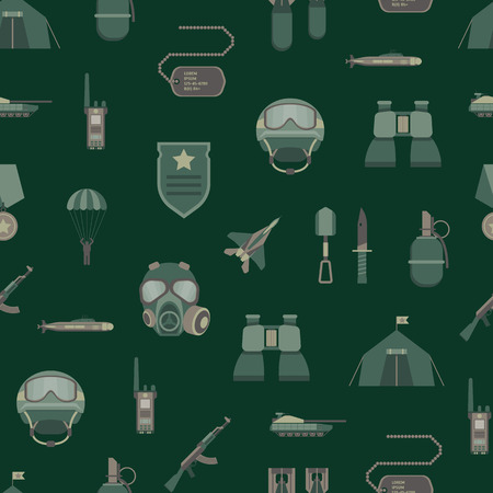 Cartoon Color Army Weapons Seamless Pattern Background Military Concept Flat Design Style Include of Grenade, Bomb, Gun, Helmet and Binocular. Vector illustration Illustration