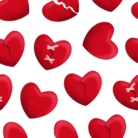 Realistic Detailed 3d Red Broken Hearts Seamless Pattern Background on a White Symbol of Pain and Love. Vector illustration of Icon Heart Illustration