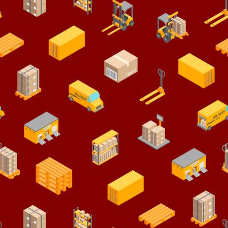 Service de fret de livraison logistique Vue isométrique de fond transparent avec entrepôt, étagères, boîte et chargeur Illustration vectorielle Vecteurs