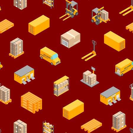 Logistic Delivery Cargo Service Seamless Pattern Background Isometric View Include of Warehouse, Shelves, Box and Loader. Vector illustration Illustration