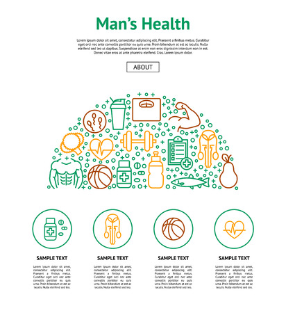Men Health Signs Card Include of Fitness, Sport, Gym, Muscle, Heart, Dumbbell, Scale and Fruit. Vector illustration Stock Illustratie