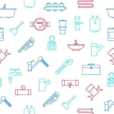 Plumbing Equipments and Seamless Pattern Background on White Include of Toilet, Faucet, Bath and Pipe. Vector illustration