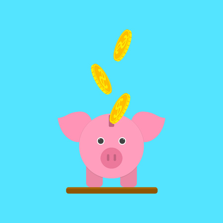 Cartoon Piggy Bank or Moneybox Concept Card Poster Symbol of Rich Flat Design Style. Vector illustration