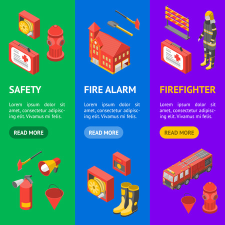 Firefighter Man and Equipment Banner Vecrtical Set Isometric View Include of Hose, Extinguisher, Hydrant, Truck and Alarm. Vector illustration Stockfoto - 114670462