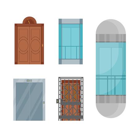 Cartoon Elevators Set Different Types Interior Concept Flat Design Style. Vector illustration of Elevator
