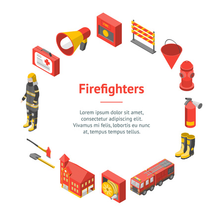 Firefighter Man and Equipment Banner Card Circle Isometric View Include of Hose, Extinguisher, Hydrant, Truck and Alarm. Vector illustration