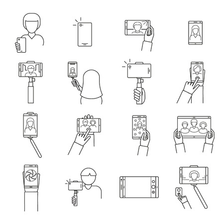 Selfie Photo Signs Black Thin Line Icon Set Include of Smartphone, Photography and Stick. Vector illustration of Icons