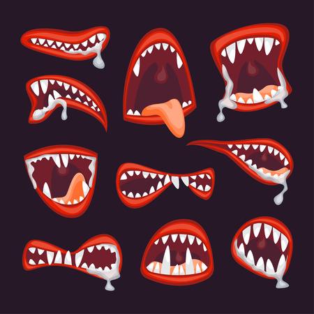 Monstruo de dibujos animados y el monstruo de la boca del vector. vector Foto de archivo - 106052691