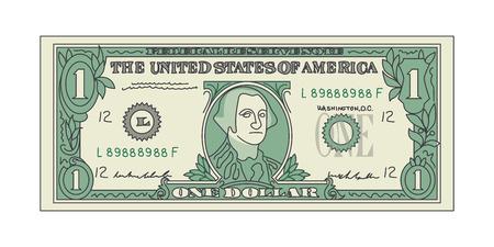 Bill One Dollar Bank pas de papier-monnaie américain. Vecteur