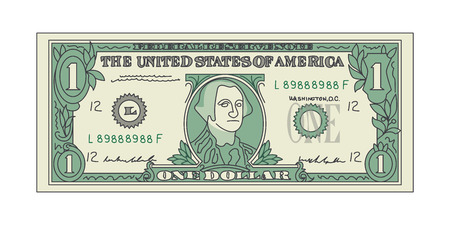 Bill One Dollar Banknot American Paper Money. Wektor