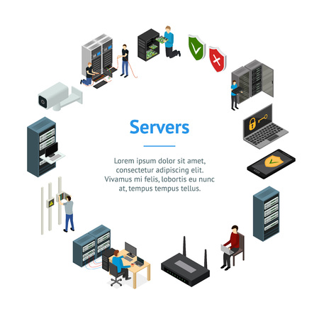 Server Hardware Banner Card Circle Isometric View Isolated on White Background. Vector illustration of Icon Technology Network Computer Ilustração