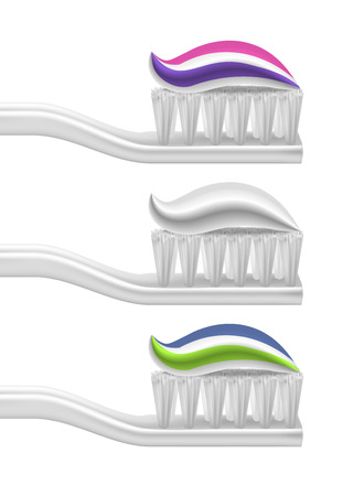 Realistic Detailed 3d Toothpaste and Toothbrush Set Dental Mouth Protection Concept . Vector illustration of Brush and Fresh Paste