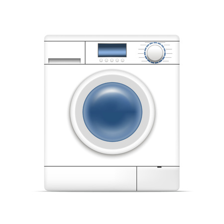 Realistic Detailed 3d White Washing Machine Appliance Laundry, Housework Equipment on a White Background. Vector illustration of Laundromat