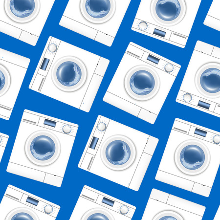 Realistic Detailed 3d White Washing Machine Seamless Pattern Background Appliance Laundry, Housework Equipment. Vector illustration of Laundromat Stock Illustratie