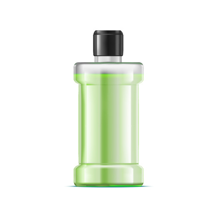 Realistic Detailed 3d Green Water Mouthwash. Vector