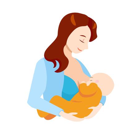 Cartoon allattamento al seno concetto caratteri madre che tiene neonato bambino elemento stile design piatto. Illustrazione vettoriale di Mother Care