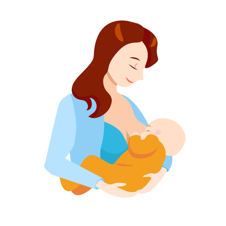 Cartoon Breastfeeding Concept Characters Mother Holding Newborn Baby Child Element Flat Design Style. Vector illustration of Mother Care