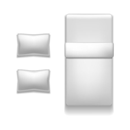 Realistic Detailed 3d Template Blank White Bed and Pillow Set Mock Up Top View Furniture of Interior Bedroom. Vector illustration Vector Illustratie