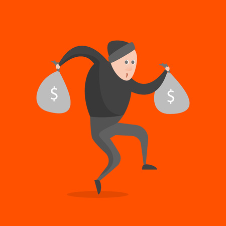 Cartoon Thief Character on a Orange Background Gangster Concept Element Flat Design Style. Vector illustration of Icon People