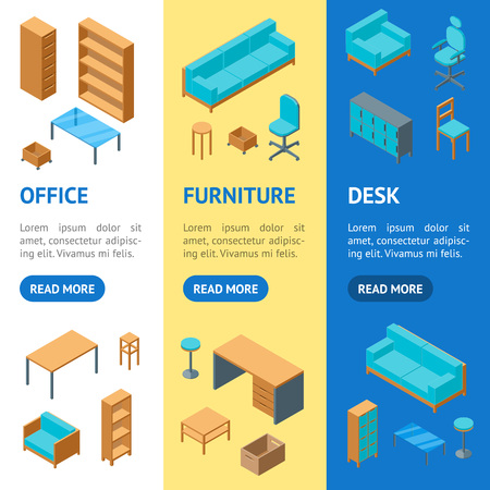Office Furniture 3d Banner Vecrtical Set Isometric View Include of Table, Chair, Sofa, Armchair and Shelf. Vector illustration