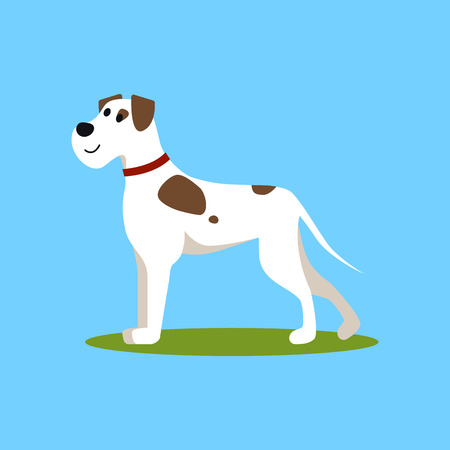 Cartoon Color Funny Puppy on Green Grass Pet Concept Flat Design Style. Vector illustration of Adorable Dog Illustration