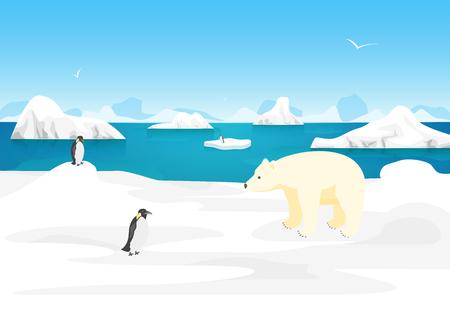 Cartoon Arctic Ice Landscape Outdoor Scene North Concept Element Flat Design Style. Vector illustration of Polar Nature Illustration