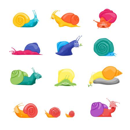 Cartoon Color Characters Funny Snails Set.