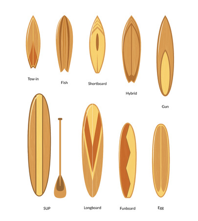 Surfboards with Wooden Texture Set Surfers Equipment for Summer Active Sport or Recreation. Vector illustration of Surf Board