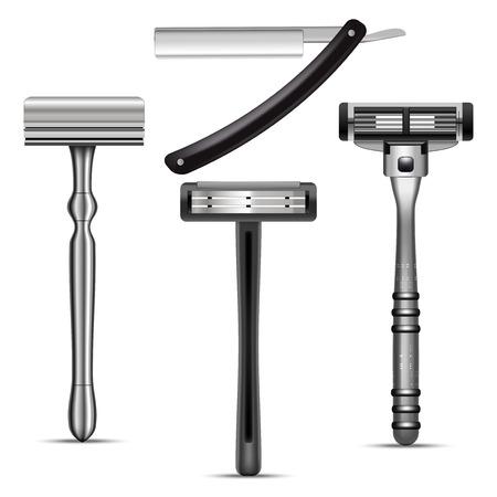 Maquette de rasoir de rasage mâle 3d réaliste détaillée définie des éléments de salon de coiffure. Illustration vectorielle d'accessoire personnel pour hommes