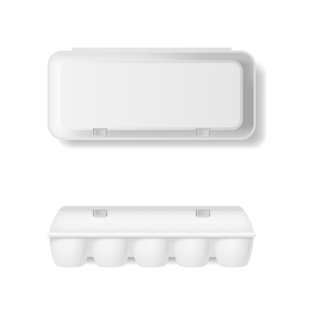 Realistic Detailed 3d White Blank Plastic Container for Eggs Template Mockup Set.
