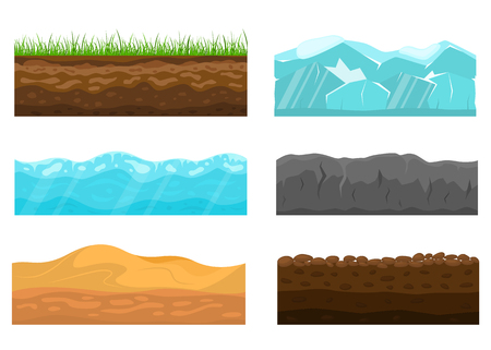 Color Cross Section of Ground Set Include of Soil, Grass, Rock, Turf and Desert. Vector illustration of Slice Vector Illustratie