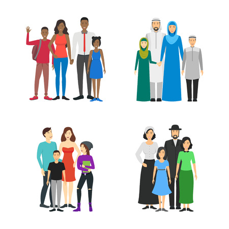 Cartoon Characters Different Nationals Families Set.